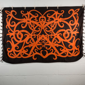 Sexy Orange & Black Traditional Cotton Wrap Around