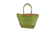 Load image into Gallery viewer, African Eco Light Green Mixed Pattern Woven Bag