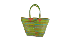 African Eco Light Green Mixed Pattern Woven Bag