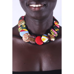 Simple Multicolored Button Ankara Necklace
