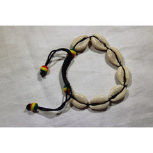 Load image into Gallery viewer, African Cowrie Shells Bracelet With Rasta Color Beads