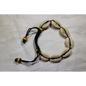African Cowrie Shells Bracelet With Rasta Color Beads