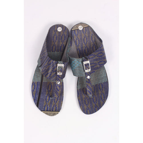 Cool Purple & Grey African Traditional Sandals