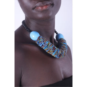 Funky Blue & Chunky African necklace