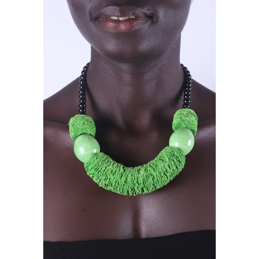Light Green & Chunky African necklace