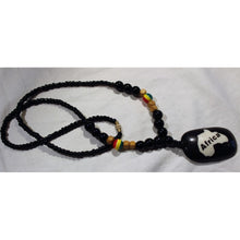 Load image into Gallery viewer, African Map Pendant On Black & Rasta Color Beads Necklace