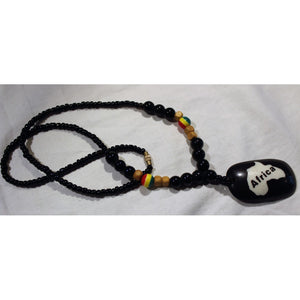 African Map Pendant On Black & Rasta Color Beads Necklace