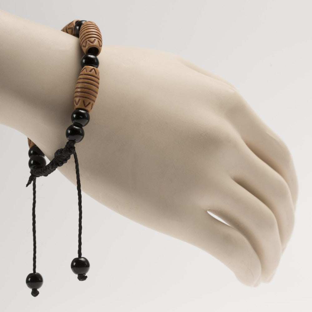 African Black & Light Brown Beads Bracelet
