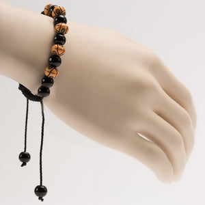 African Black & Brown Beads Bracelet With Cultural Carving