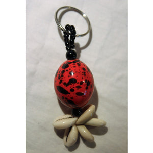 Red & Black African Egg Ball Key Ring