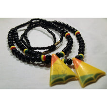 Load image into Gallery viewer, African Map In Triangle Pendant On Black & Rasta Color Beads Necklace