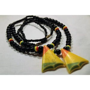 African Map In Triangle Pendant On Black & Rasta Color Beads Necklace