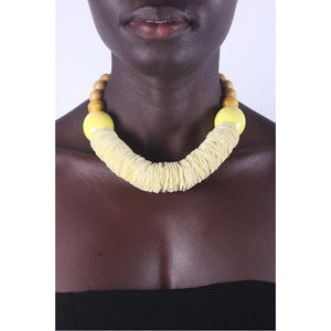 Light Yellow & Chunky African necklace