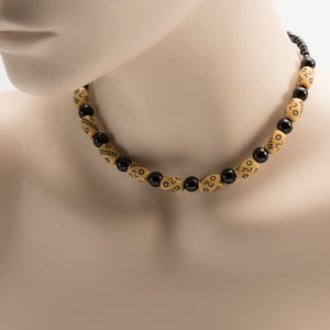 African Black & Brown Beads With Cultural Markings Necklace