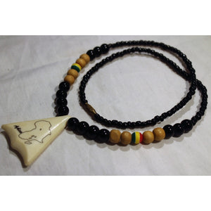African Map In Triangle Pendant On Black, Brown & Rasta Color Beads Necklace