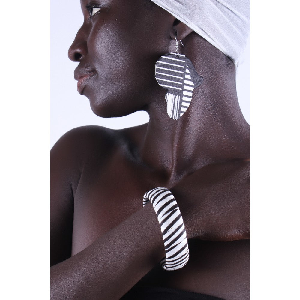 African Zebra Earrings & Bracelet Combo