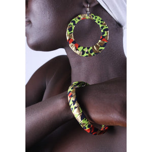 Golden Cheetah Earrings & Bracelet Combo