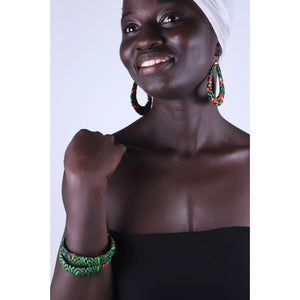Green Mamba Earrings & Bracelet Combo