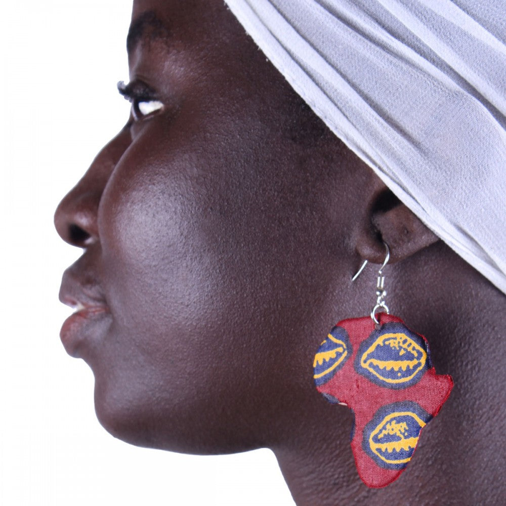 Red African Cowrie Earrings