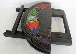 Foldable Ornamented Colourful Wooden Table