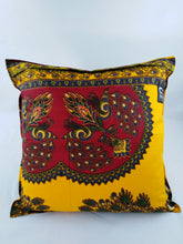 Load image into Gallery viewer, Small Red Peacock Ankara Style Cushion - Set of 2