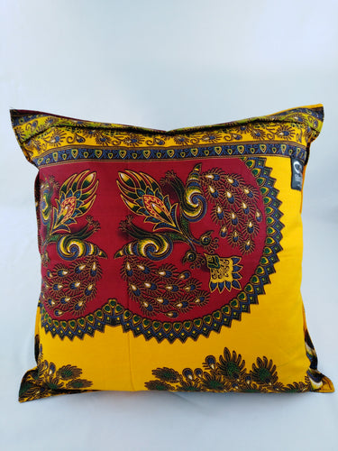 Small Red Peacock Ankara Style Cushion - Set of 2