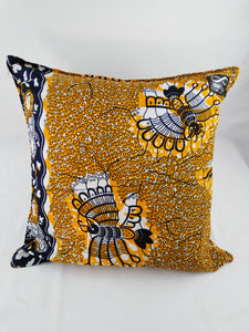 Small Black Bird Ankara Style Cushions - Set of 2