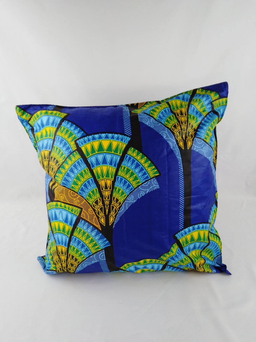 Small Green & Yellow Flower Ankara Style Cushions - Set Of 2
