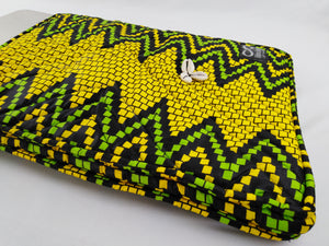 "Cowrie Yellow & Green Ankara Style ""15"" Inch Laptop Bag"