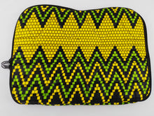 "Load image into Gallery viewer, Zip Yellow & Green Ankara Style ""11"" Inch Laptop Bag"