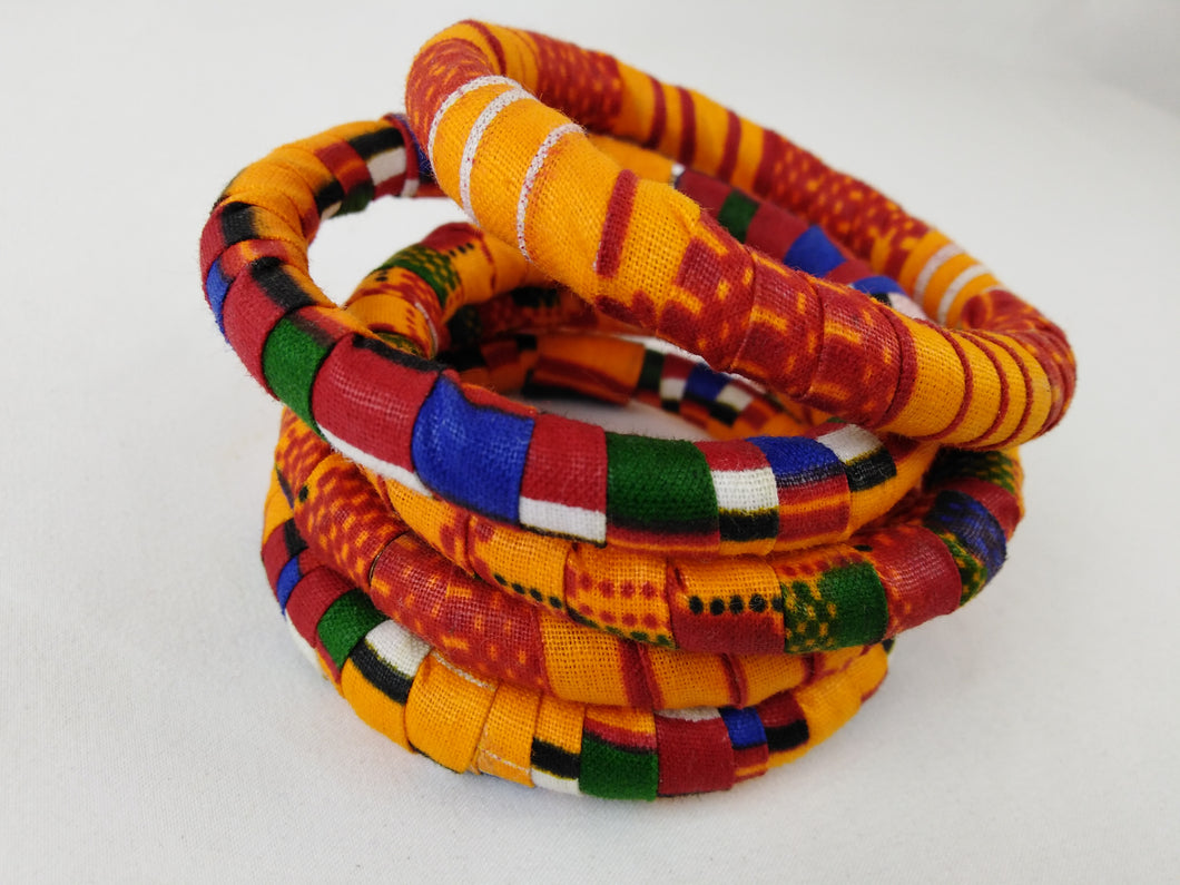 Colorful African Ankara Wax Print Bangle Set