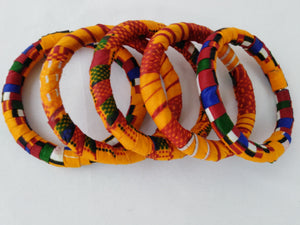 Colorful African Ankara Wax Print Bangle Set and Earrings Combo