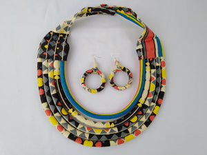 Stylish Light Colorful African Ankara Wax Print Necklace & Earrings Combo