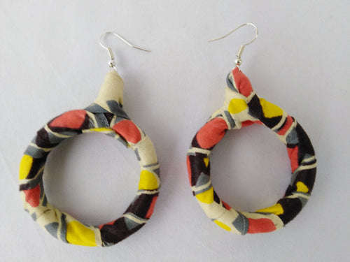 Stylish Light Colorful African Ankara Wax Print Ear Rings