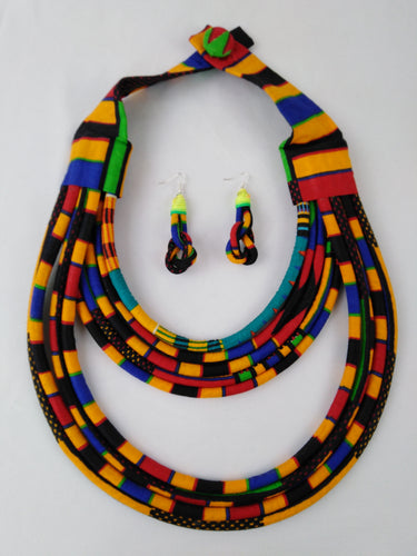 Stylish Dark Colorful African Ankara Wax Print Necklace & Earrings Combo