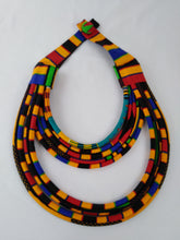 Load image into Gallery viewer, Stylish Dark Colorful African Ankara Wax Print Necklace & Earrings Combo