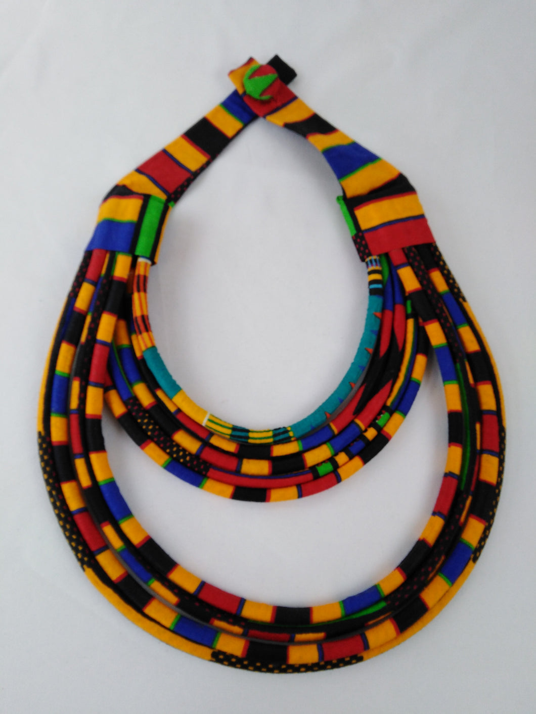 Stylish Dark Colorful African Ankara Wax Print Necklace