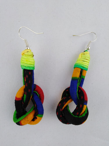 Stylish Dark Colorful African Ankara Wax Print Ear Rings