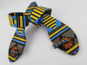 Yellow & Blue African Print Women Sandals