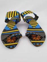 Load image into Gallery viewer, Yellow & Blue African Print Women Sandals