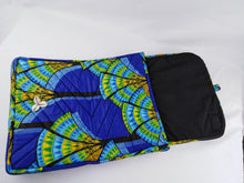 "Load image into Gallery viewer, Cowrie Blue Ankara Style ""17"" Inch Laptop Bag"
