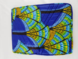 "Cowrie Blue Ankara Style ""17"" Inch Laptop Bag"