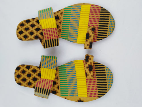African Print Colorful Yellow Pattern Ankara Sandals