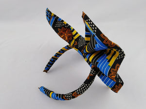 African Print Colorful Blue Pattern Ankara Hair Band & Sandals Combo