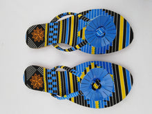 Load image into Gallery viewer, African Print Colorful Blue Pattern Ankara Sandals