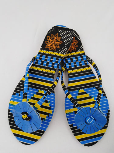 African Print Colorful Blue Pattern Ankara Sandals