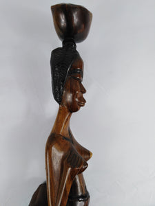 Traditional Tall African Woman Statue