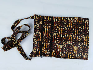 African Brown Cowrie Shell Ankara Pattern Pouch