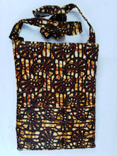 Load image into Gallery viewer, African Brown Cowrie Shell Ankara Pattern Pouch