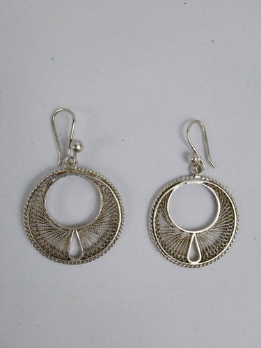 African Silver Moon Ear Rings